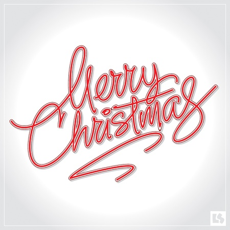 typographic: merry christmas hand lettering (vector) Illustration