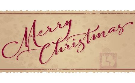 script: Merry Christmas hand lettering (vector)