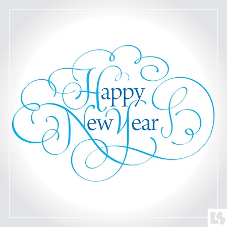 Happy New Year hand lettering (vector) Vector