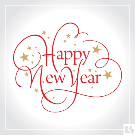 Happy New Year hand lettering (vector)
