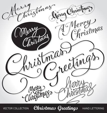 hand lettering: christmas greetings hand lettering set (vector)