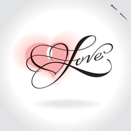 word love: love hand lettering (vector)