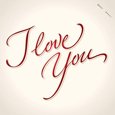 hand lettering: love you hand lettering (vector)