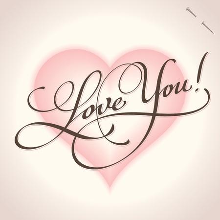 headline: love you hand lettering (vector)