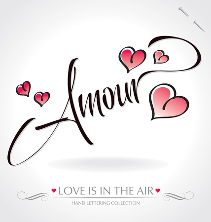 amour hand lettering (vector) Illustration