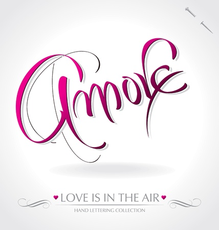 amore hand lettering (vector) Vector