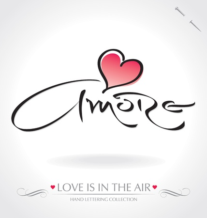 amore: amore hand lettering (vector)