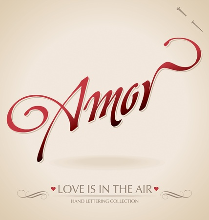amor hand lettering (vector) Illustration