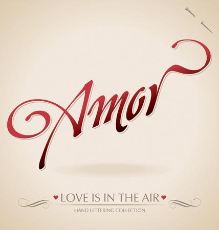 amor hand lettering (vector) Illustration