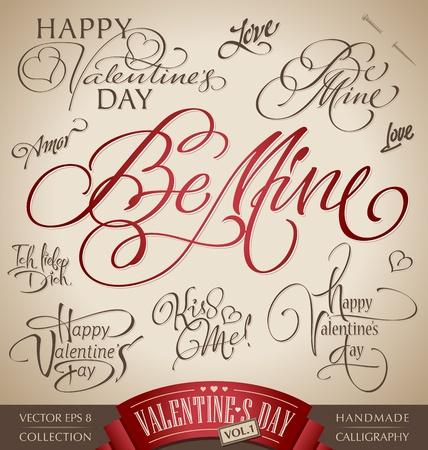 valentine hand lettering set (vector) Stock Vector - 12285426