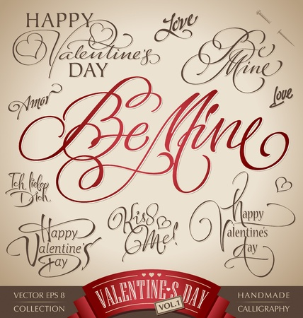 valentine hand lettering set (vector) Vector