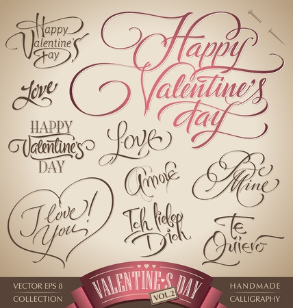 valentine hand lettering set (vector) Stock Vector - 12285424