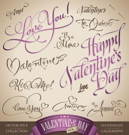 lettrage: ensemble valentine lettrage � la main (vecteur)