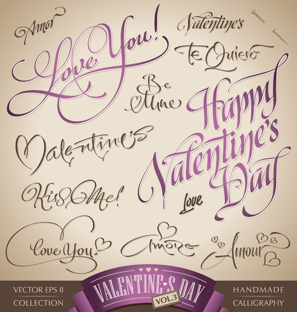 scripts: valentine hand lettering set (vector)