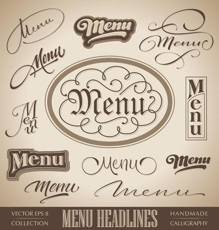 facture restaurant: manchettes vecteur ensemble de menus, � la main lettrage calligraphique