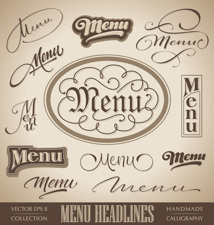 hand lettering: vector set  menu headlines, handmade calligraphic lettering   Illustration