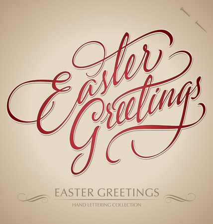 easter greetings hand lettering - handmade calligraphy  vector