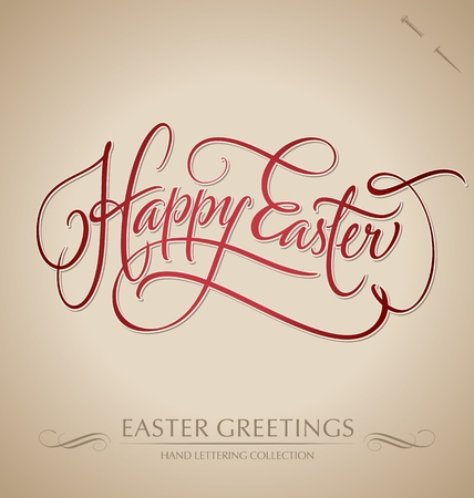 easter message: happy easter hand lettering - handmade calligraphy  vector