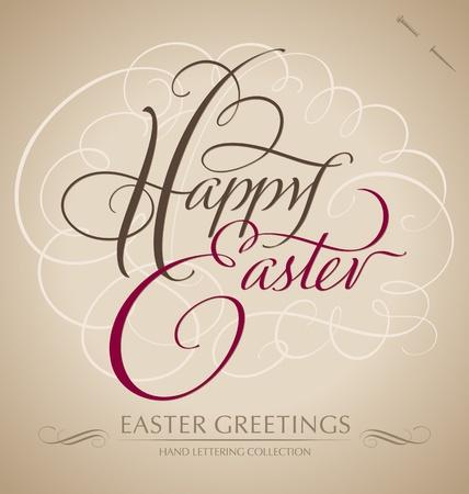 word art: Feliz Pascua de las letras a mano - vector de la caligraf�a a mano