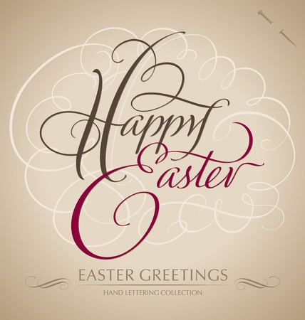 scripts: happy easter hand lettering - handmade calligraphy  vector