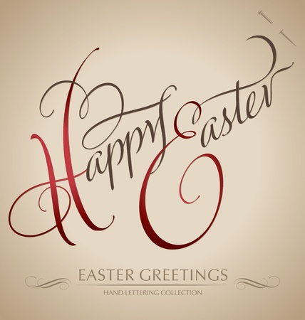 happy easter hand lettering - handmade calligraphy  vector