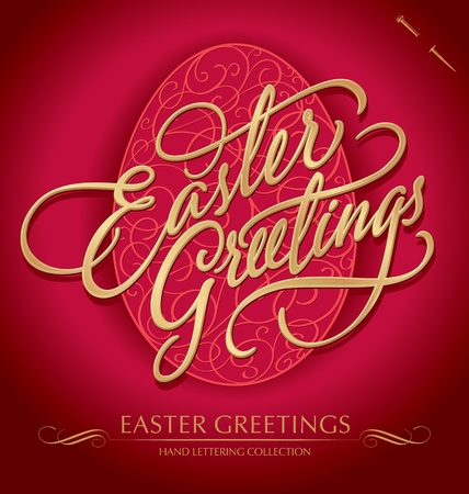 golden font:  easter greetings  hand lettering  vector
