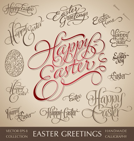 easter hand lettering set  vector