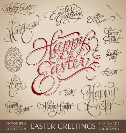 easter hand lettering set vector