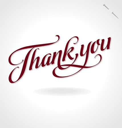 thank you card: thank you hand lettering