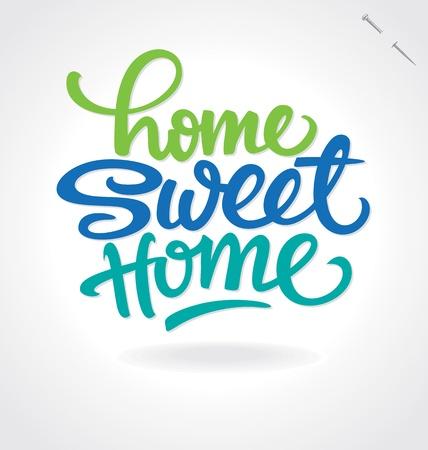 la maison lettrage douce main à domicile Vecteurs