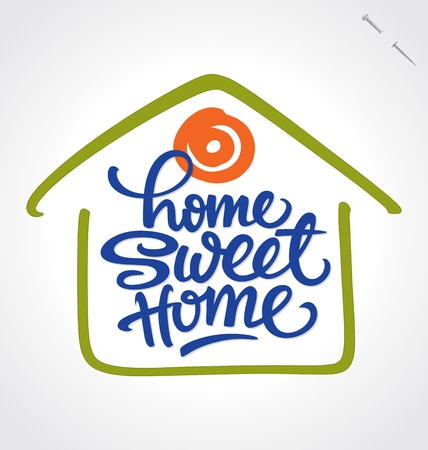 logo casa: Home Sweet Home lettering a mano