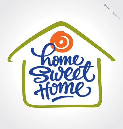 maison: la maison lettrage douce main � domicile Illustration