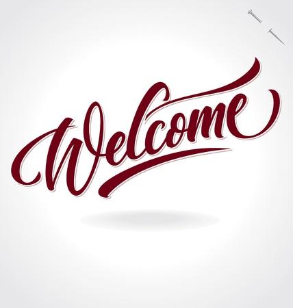 bienvenidos: la mano de bienvenida vector de las letras