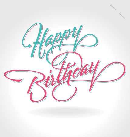 happy holidays text: happy birthday hand lettering (vector)