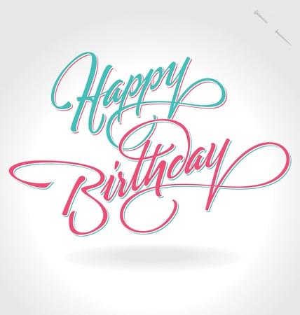 urodziny: Napis ręka szczęśliwy urodziny (wektor) Ilustracja