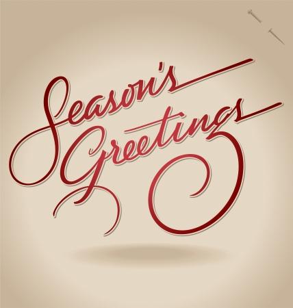 seasons greetings: Auguri a mano vettore lettering