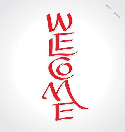 Bienvenido letras mano Ilustración de vector