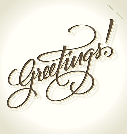 GREETINGS hand lettering (vector) Stock Vector - 15329936