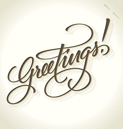 GREETINGS hand lettering (vector) Illustration