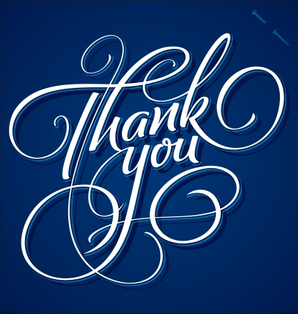 thank you card: THANK YOU hand lettering - handmade calligraphy