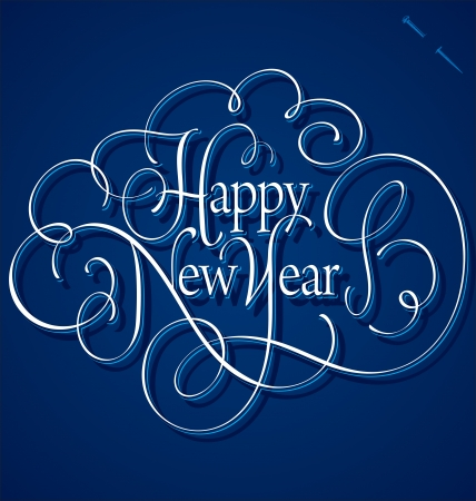 HAPPY NEW YEAR hand lettering Stock Vector - 16402408