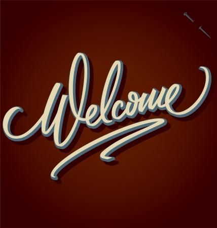 bienvenida: bienvenida letras mano - caligraf�a hecha a mano Vectores