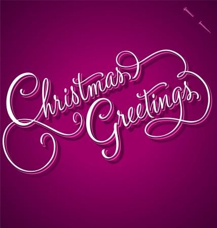 CHRISTMAS GREETINGS hand lettering - handmade calligraphy Stock Vector - 16402404