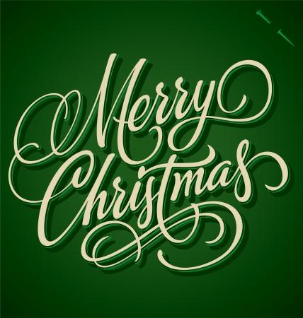 MERRY CHRISTMAS hand lettering - handmade calligraphy Stock Vector - 16391634