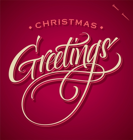 CHRISTMAS GREETINGS hand lettering Stock Vector - 16402411