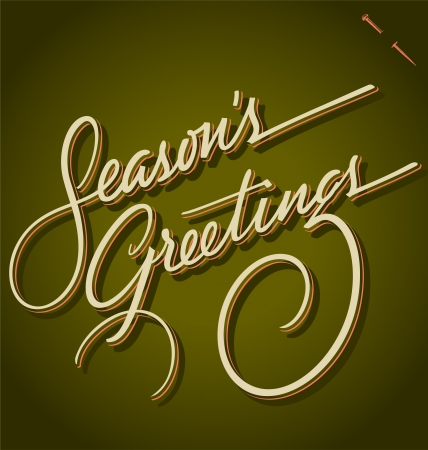typography signature: SEASONS GREETINGS hand lettering