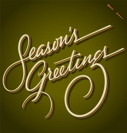 SEASONS GREETINGS hand lettering Stock Vector - 16478518