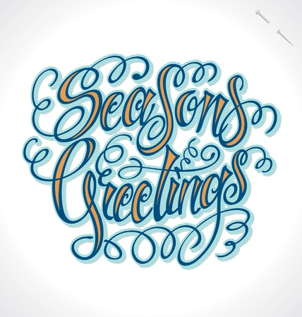 SEASONS GREETINGS hand lettering   Stock Vector - 16478528