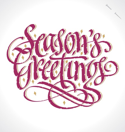 SEASONS GREETINGS hand lettering   Illustration