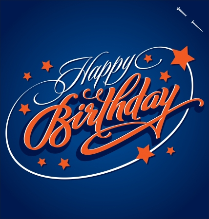 birthday card: HAPPY BIRTHDAY hand lettering vector